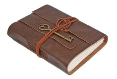 Brown Leather Journal with Heart Key Charm Bookmark by boundbyhand, $33.00