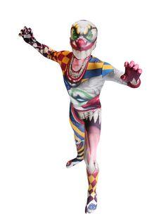 Horror Clown Kinder Morphsuit Halloween bunt, aus unserer Kategorie Morphsuits. Wenn Ihr kleiner Horrorfan an Halloween oder Karneval mal so richtig für Angst und Schrecken sorgen möchte, dann ist unser Horror Clown Morphsuit für Kinder genau das Richtige! Ein echter Eye Catcher, der mit Sicherheit in Erinnerung bleiben wird.