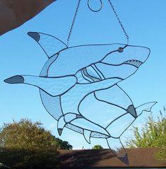 Shark glass art