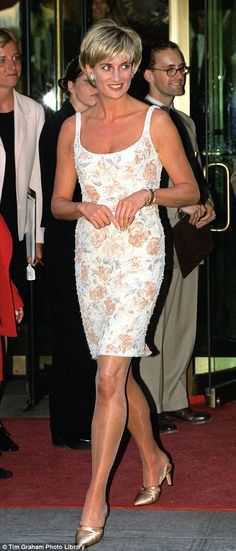 A more daring dress is a design by Catherine Walker, which Princess Diana wore to a Christ...