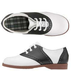 The saddle shoe is a low-heeled casual Oxford shoe, characterized by a plain toe and distinctive, saddle-shaped decorative panel placed mid foot. Saddle shoes are usually made of leather and are most times white with a black saddle. Womens Saddle Oxfords, Saddle Shoes, Best Memories, Childhood Memories, Childhood Games, Seychelles, Dr. Martens, Chelsea, This Is Your Life