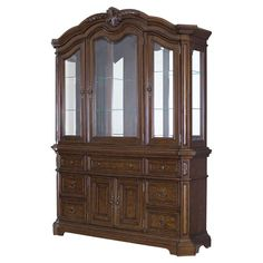 Three-door China cabinet with two glass shelves and a mirrored back. Base includes seven drawers and two bottom compartments with adjustable shelving.