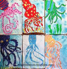 You need: drawing sheet size oilpastels liquid watercolor paint jar with water brushes salt After a story about Oscar the Oct. Octopus Crafts, Octopus Art, Ocean Crafts, Fish Art, Art Lessons For Kids, Artists For Kids, Art Lessons Elementary, Art For Kids, Kids Watercolor
