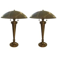 Pair of Brass Art Deco Modernist Table Lamps 1