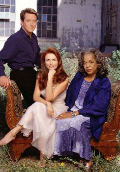 "Monica (Roma Downey) Tess (Della Reese) and Andrew (John Dye) from ""Touched by an Angel"""