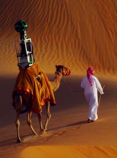 We've seen Google place its Trekker — a special type of camera for taking 360-degree visuals — on a car, bicycle or even a snowmobile. But to take Street View imagery of the Liwa Desert in the United Arab Emirates, Google placed the Trekker on a camel.