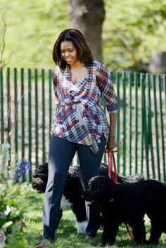First Lady Michelle Obama, Sunny & Bo off to the #EasterEggHunt at the Whitehouse! — 4/20/14