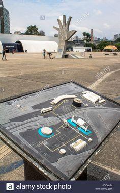 tactile map, braille, Latin America Memorial, 12.06.2015, Capital, Barra Funda, Sao Paulo, Brazil. Stock Photo