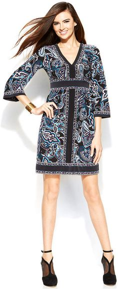 Cute!  INC International Concepts Printed Bell-Sleeve Empire-Waist Dress is on sale now for - 25 % !