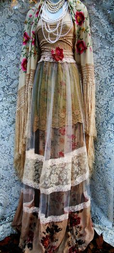 Beige tulle  dress tea stained roses  cotton  crochet vintage  bohemian romantic small by vintage opulence on Etsy by vintageopulence on Etsy https://www.etsy.com/listing/229571528/beige-tulle-dress-tea-stained-roses