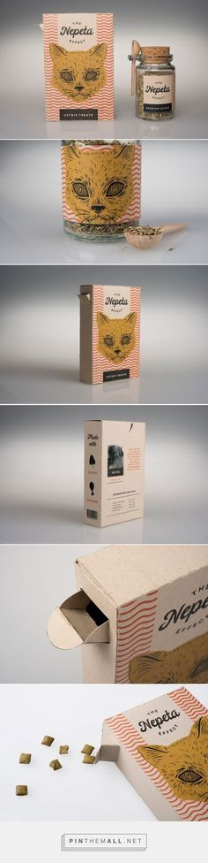 Creepy but effectively unique cat treat packaging design.