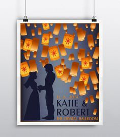 This one of a kind poster of Rapunzel and her Prince charming can be personalized with your names, venue and date. Would you like to have the poster  without the wording or maybe a quote from the movie?  All of Cloud9 Keepsakes text can be customized to fit your personal style!  Starting at $28 #tangled #disneywedding