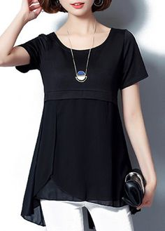 Asymmetric Hem Chiffon Panel Short Sleeve Black Blouse on sale only US$30.16 now, buy cheap Asymmetric Hem Chiffon Panel Short Sleeve Black Blouse at liligal.com
