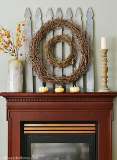 Love this easy diy picket fence mantel...great for all seasons!