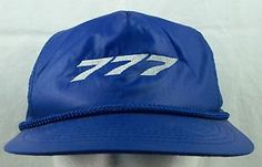 SOLD!  We have more hats available. Boeing 777 Hat Cap Blue Embroidered Logo Velcro Adjust