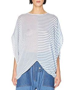 STELLA MCCARTNEY Striped Cocoon Short-Sleeve Sweater, Light Blue. #stellamccartney #cloth #