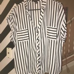 Black and white striped button down blouse NWOT Black and White Striped Blouse Forever 21 Tops
