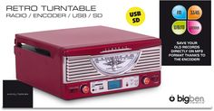 Giradischi registratore TD015 (Rosso) - Da Bigben Interactive. Ulteriori informazioni qui: http://www.bigbeninteractive.it/produit/produit/id/7259