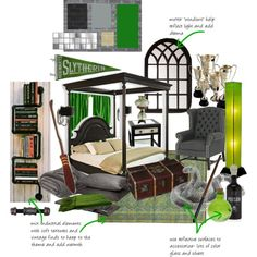 """""""slytherin dorm room"""" by queenaengland on Polyvore"""