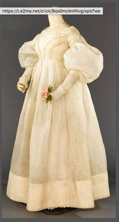 White Organdy Empire Gown, 1830's