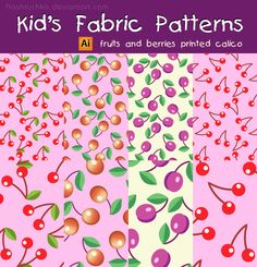 Vector Kid's Fabric Seamless Patterns - Fruits and Berries