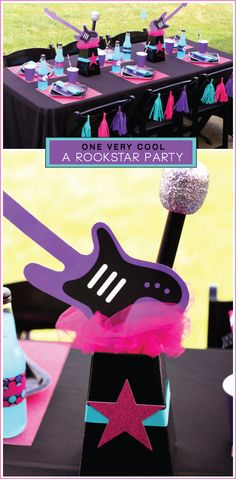 How to make a guitar and microphone centerpiece for a rock-star birthday party                                                                                                                                                                                 More