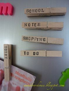 Who would have guessed that a few labeled clothespin magnets would help me get organized once and for all? These are lifesavers!