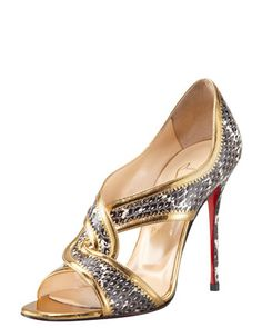 Suzanna Snake Red Sole Sandal by Christian Louboutin at Bergdorf Goodman.