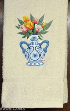 DELFT BLUE WITH TULIPS IN VASE - STUNNING - 2 EMBROIDERED HAND TOWELS by Susan