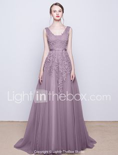 A-Line V-neck Sweep / Brush Train Tulle Prom Formal Evening Dress with Beading Lace Sequins by CHQY 2017 - $79.99
