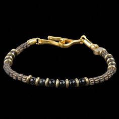 Energy Signature Bracelet in Obsidian & Gold Plated Brass Gold Rate, Diamond, Bracelets, Live, Usa, Jewelry, Jewlery, Jewerly, Schmuck