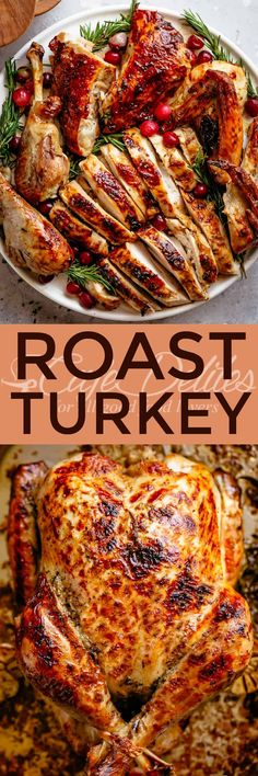 Our Garlic Herb Butter Roast Turkey recipe is succulent and tender on the inside with a golden, buttery skin and so much flavour! Roast Turkey Recipes, Stuffing Recipes, Leftovers Recipes, Meat Recipes, Cooking Recipes, Chicken Recipes, Thanksgiving Recipes, Holiday Recipes, Recipes