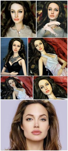 Angelina Jolie Barbie Repainted by Noel Cruz