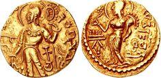 INDIA, Gupta Empire. First Dynasty. Kachagupta. Circa AD 335. AV Dinar (20mm, 7.57 g, 12h). Chakradhvaja type.