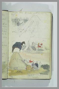 Arab Studies Camp - Eugène Delacroix. Titulo original: Etudes de campement arabe. Orientalismo