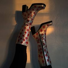 Hand painted Knee-High Glitter Silver Pink Red Shooting Star / more Noel Fielding-friendly boots by threepigsvintage on Etsy / David Bowie / Ziggy Stardust