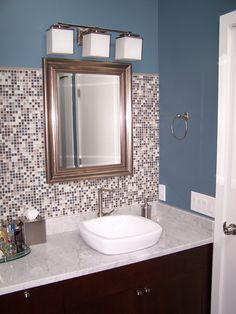 - Example of only taking Backsplash 3/4 way up wall behind vanity (Don't really like this)