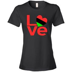 """Red letters form the word """"#LOVE"""" with the """"O"""" created using a heart shaped Flag of the African Diaspora or African American Flag. Wonderful for sharing your love and pride in your ethnic heritage, culture and ancestry at Valentine's Day. Terrific for celebrating #Black History Month and Juneteenth. Great gift for Kwanzaa, too. $21.99 http://ink.flagnation.com from your @AuntieShoe"""