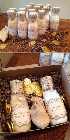 The Perfect Christmas Gift Box - Frankincense Sugar Scrub, Myrrh Bath Salts and Chocolate Gold foiled Coins - Sugars Scrub and Bath Salt recipe from http://www.theidearoom.net/2013/12/myrrh-bath-salts.html and delicious Chocolate Gold Coins from http://www.foiledagainchocolate.com/holiday