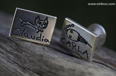 Broc Gemelos de plata personalizados con dibujos para Papá o el Abuelo ¡Sorprendeles en el #DíadelPadre!