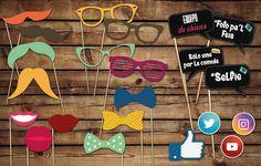 Photo Booth Props #Selfie Antifaces, bigotes, lentes, boca, iconos redes sociales, cartelitos con frases
