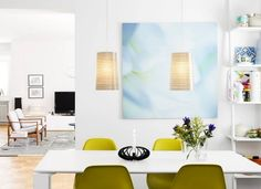 Interior, Charming Scandinavian Home Interior Decorations With Green Chairs  And White Table And Cool Candle Holder And Glass Vase And Modern Hanging  Lamps ...