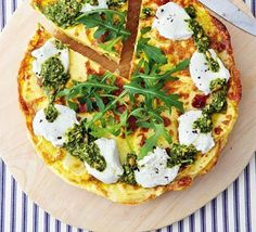 Potato frittata with pesto & goat cheese