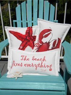 The BEACH FIXES EVERYTHING indoor outdoor pillow by crabbychris