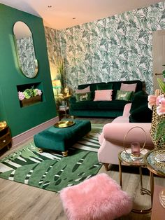 20 Apr 2020 - My green and pink living room was inspired by my stays in the Art Deco hotels of Miami. I've tried to bring a luxe glam feel using velvets, gold accents and palm print wallpaper. Art Deco Living Room, Living Room Green, Living Room Designs, Art Deco Bedroom, Green Velvet Sofa, Pink Velvet, Velvet Room, Art Deco Hotel, Interior Design Books