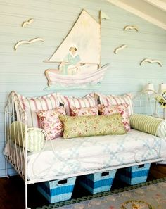 Coastal Summer Cottage Decor by Tracey Rapisardi - Coastal Decor Ideas and Interior Design Inspiration Images Shabby Chic Porch, Coastal Decor, Sleeping Porch, Coastal Cottage, Chic Bathrooms, Beach Cottage Decor, Summer Cottage Decor, Summer Cottage, Cottage Decor