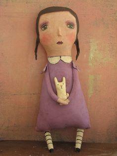 Primitive Folk Art Doll Girl With Her Rabbit Handpainted. $20.00, via Etsy.
