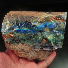 2331.6CT 100% Natural Australian Black Boulder Opal Facet Rough Specimen YOH749