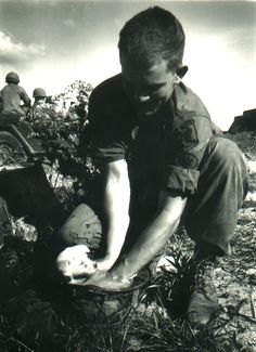 A soldier of the 173d Airborne Brigade washes a puppy found in a VC tunnel.