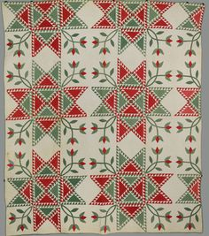 Barbara Brackman's MATERIAL CULTURE- feathered star quilt, 1840-1860.